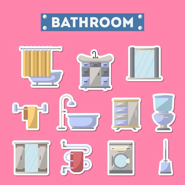 Icona di mobili da bagno impostata in stile piano Vettore Premium