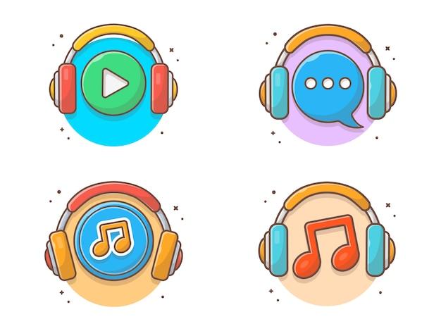 Icona di musica d'ascolto con icona di musica delle cuffie. musica d'ascolto logo white isolated Vettore Premium