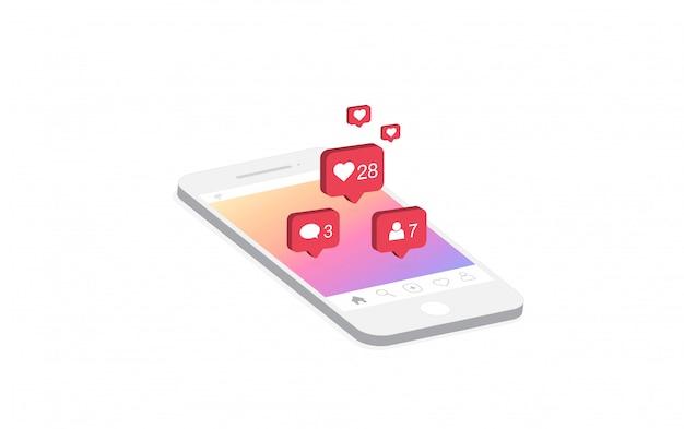 Icona di notifica dei social media su smartphone. Vettore Premium