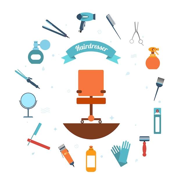 Icona di parrucchiere piatta Vettore gratuito