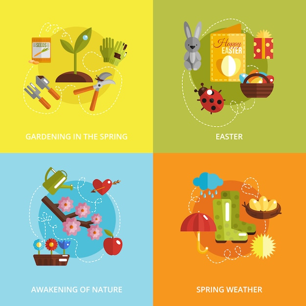 Icona di primavera piatta Vettore gratuito