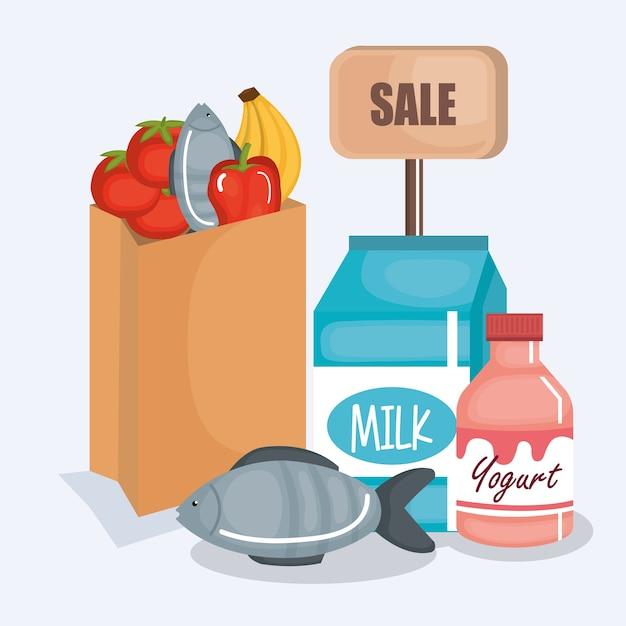 Icona di prodotti set supermercato Vettore Premium