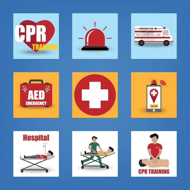 Icona di pronto soccorso, cpr, emergenza, salvataggio, dae, ambulanza, silenzioso, medico e paziente Vettore Premium