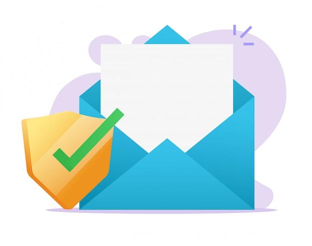 Icona di protezione scudo sicuro digitale documento e-mail su file vuoto vuoto posta elettronica Vettore Premium