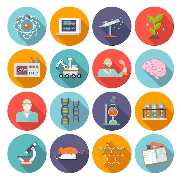 Icona di ricerca e scienza piatta Vettore gratuito