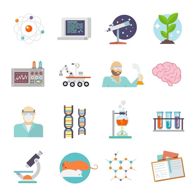 Icona di ricerca e scienza piatta Vettore Premium