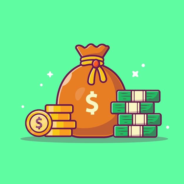 Icona di risparmio di denaro. pila di monete e borsa dei soldi, icona di affari isolata Vettore Premium