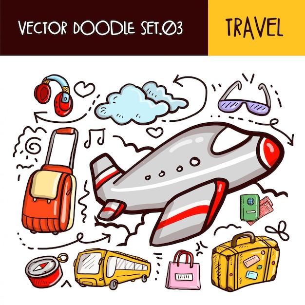 Icona di scarabocchi di viaggio. illustrazione vettoriale set Vettore Premium