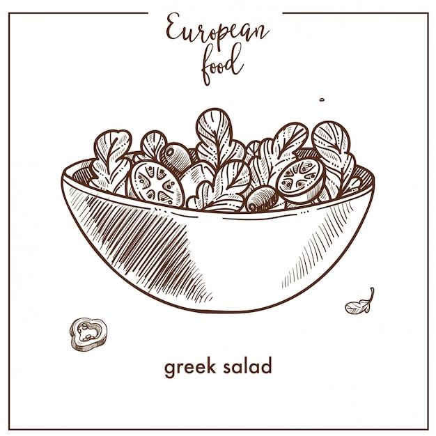 Icona di schizzo di insalata greca per il design della cucina europea cibo mediterraneo Vettore Premium