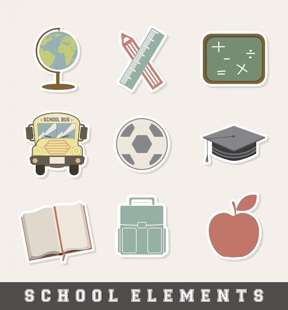 Icona di scuola sopra illustrazione vettoriale sfondo crema Vettore Premium