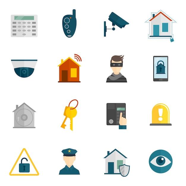 Icona di sicurezza domestica piatta Vettore gratuito
