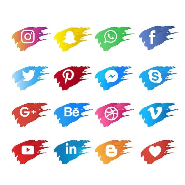 Icona di social media con pennello Vettore Premium