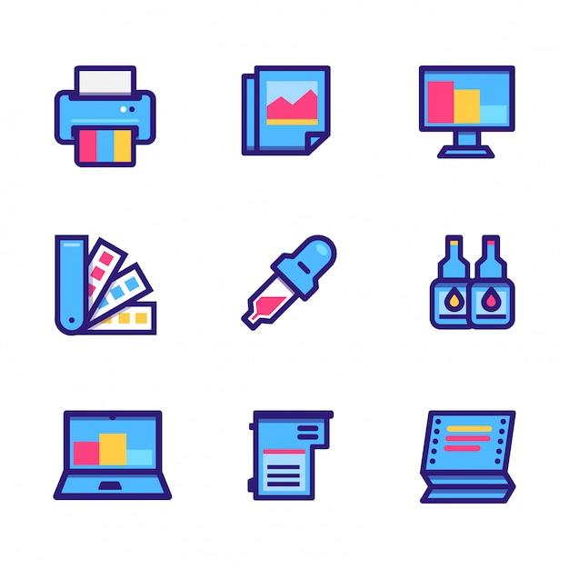 Icona di stampanti e accessori Vettore Premium