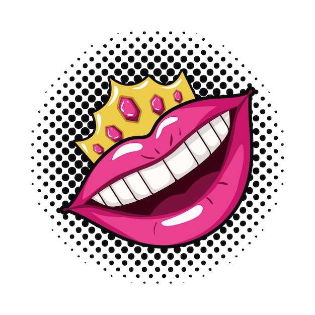 Icona di stile isolato bocca femminile pop art Vettore Premium