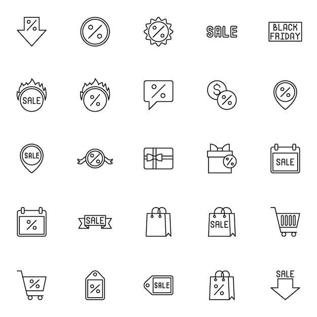 Icona di stile linea di vendita. marketing, shopping e vendita Vettore Premium
