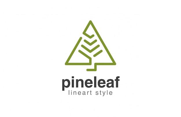 Icona di stile lineare astratto di logo dell'albero di natale Vettore gratuito