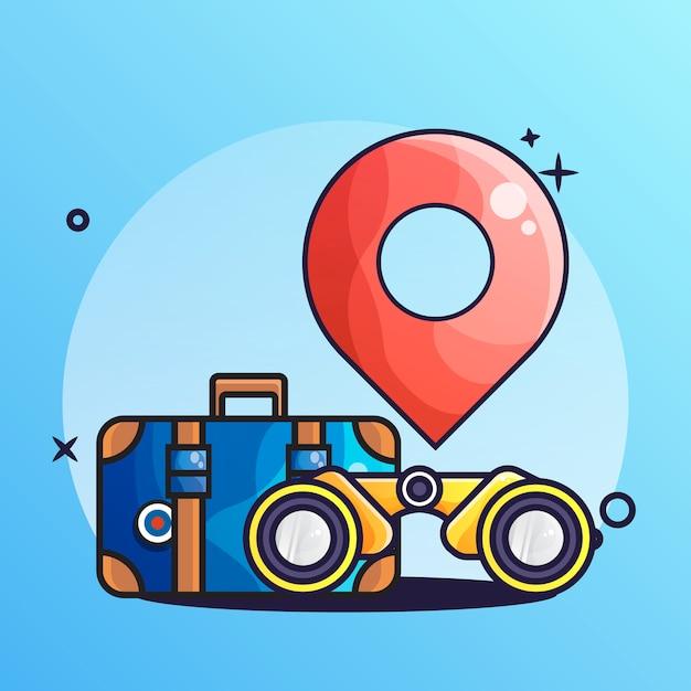 Icona di valigia e binocolo Vettore Premium