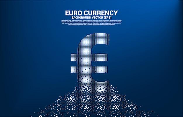 Icona di valuta euro soldi da trasformare pixel. Vettore Premium