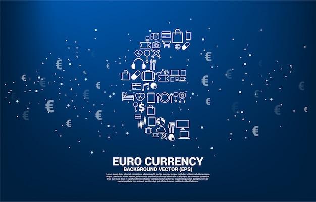 Icona di valuta euro soldi vettoriale da più icona. concetto per la connessione della rete finanziaria digitale della zona euro. Vettore Premium