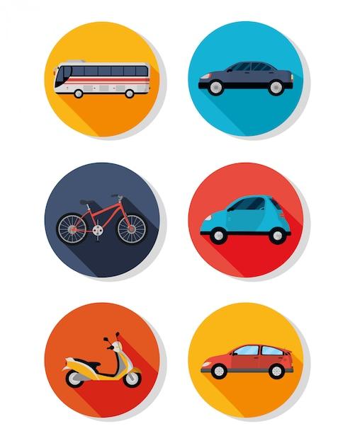 Icona di veicoli di trasporto pubblico Vettore Premium