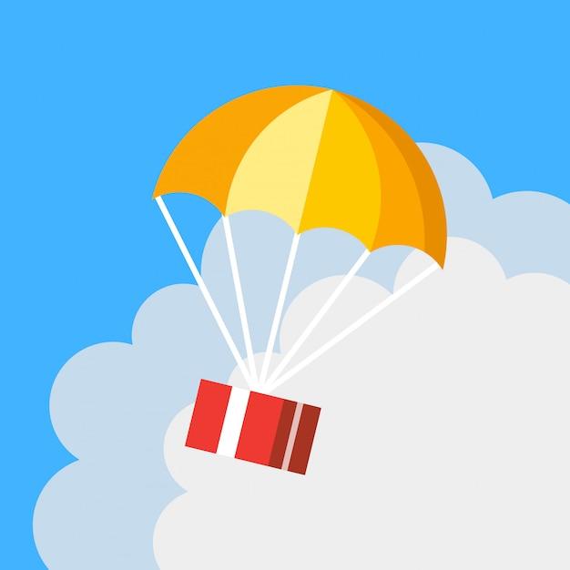 Icona di vettore del paracadute di consegna regalo piatto del fumetto Vettore Premium