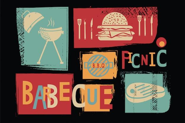 Icona di vettore di barbecue picnic Vettore Premium