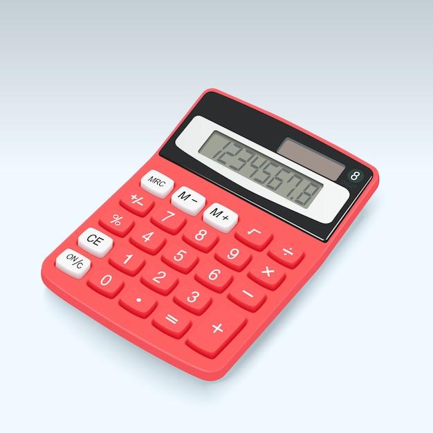 Icona di vettore di calcolatrice rosso realistico isolato Vettore Premium