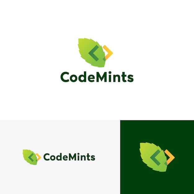 Icona di vettore di codice foglia logo foglia Vettore Premium
