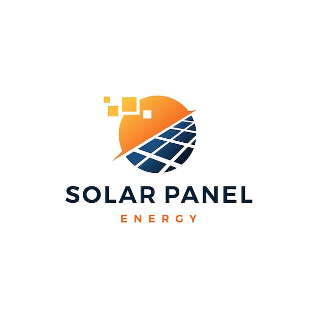Icona di vettore di logo di energia elettrica di energia del pannello solare Vettore Premium