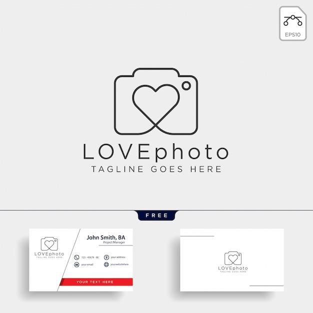 Icona di vettore di logo di fotografia di amore isolata Vettore Premium