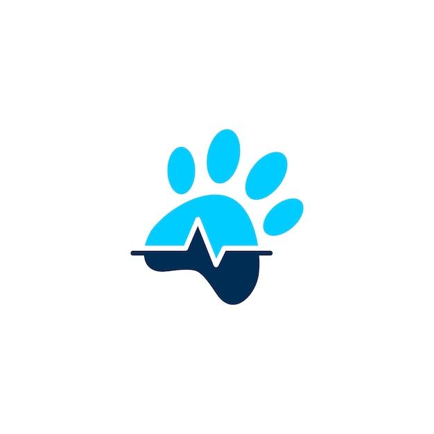 Icona di vettore di logo di salute clinica clinica zampa dell'animale domestico Vettore Premium