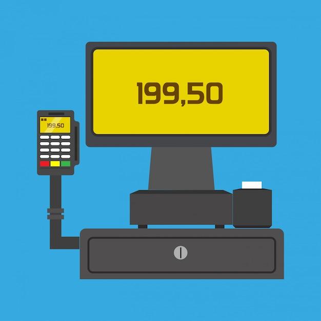 Icona di vettore di tecnologia di pagamento di affari dell'affare terminale di pos Vettore Premium