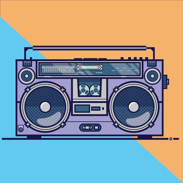 Icona di vettore piatto di linea con retro boombox elettrico dispositivo audio. illustrazione vettoriale Vettore Premium