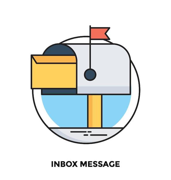 Icona di vettore piatto messaggio posta in arrivo Vettore Premium
