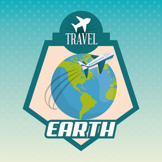 Icona di viaggio, illustrazione vettoriale Vettore Premium
