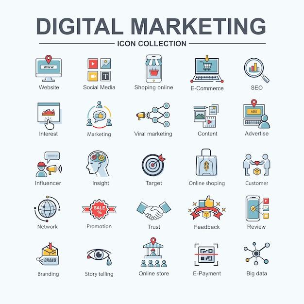 Icona di web marketing online digitale per il business e social media marketing, content marketing. Vettore Premium