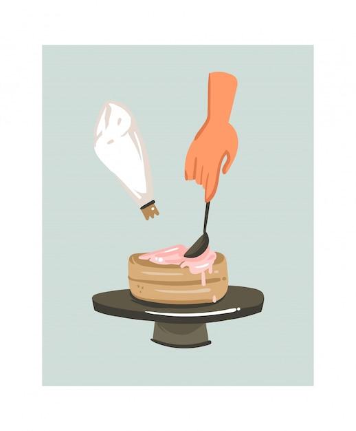 Icona disegnata a mano delle illustrazioni di divertimento di tempo di cottura con le mani della donna che producono un dolce isolato sul fondo bianco. Vettore Premium