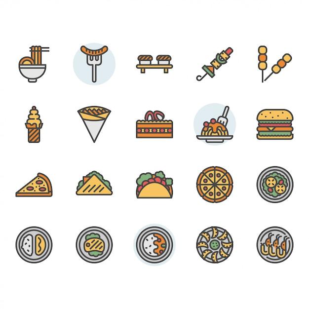 Icona e insieme di simboli internazionali dell'alimento Vettore Premium