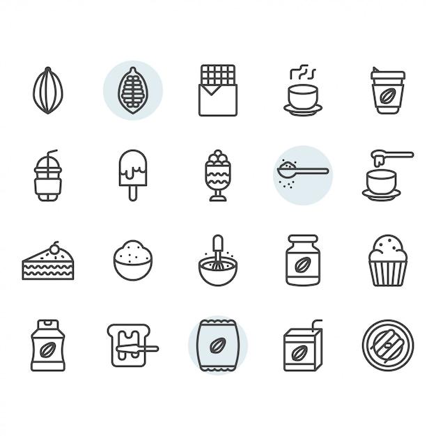 Icona e simbolo del cacao messi nel profilo Vettore Premium