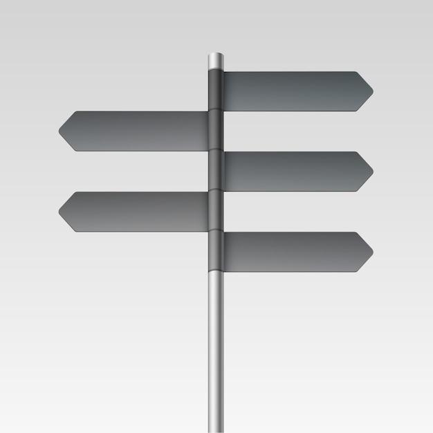 Icona in bianco della freccia del segno del cartello di direzione su fondo Vettore Premium
