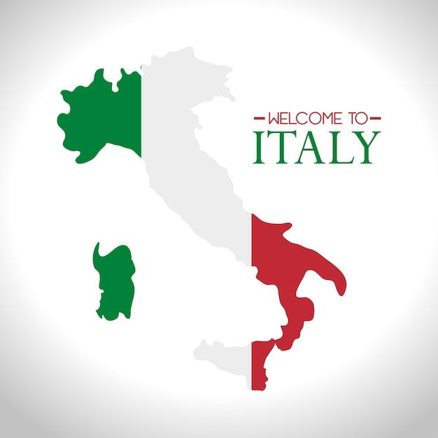 Icona isolata di bandiera italia Vettore Premium