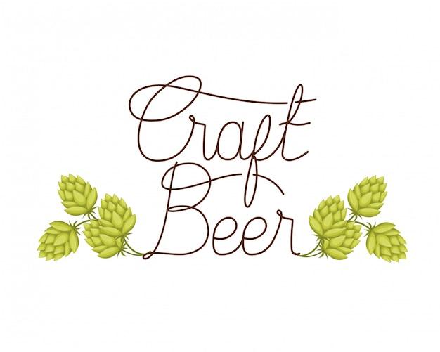 Icona isolata etichetta di birra artigianale Vettore Premium