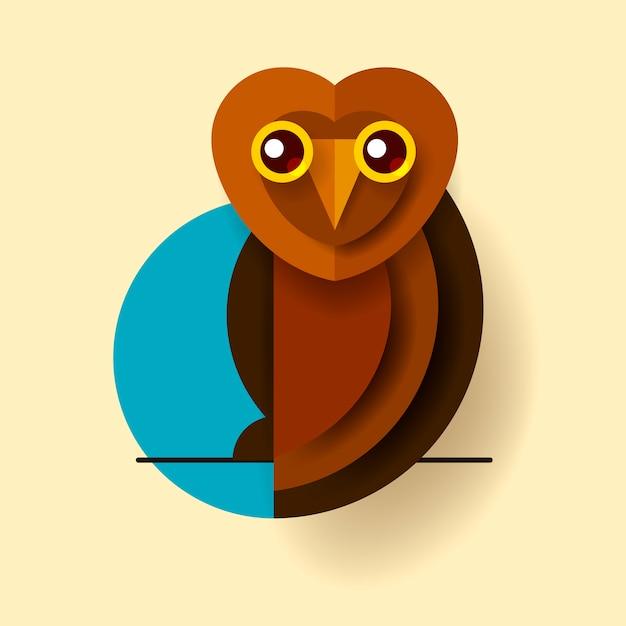 Icona isolata vettore dell'uccello del gufo reale o del gufo Vettore Premium