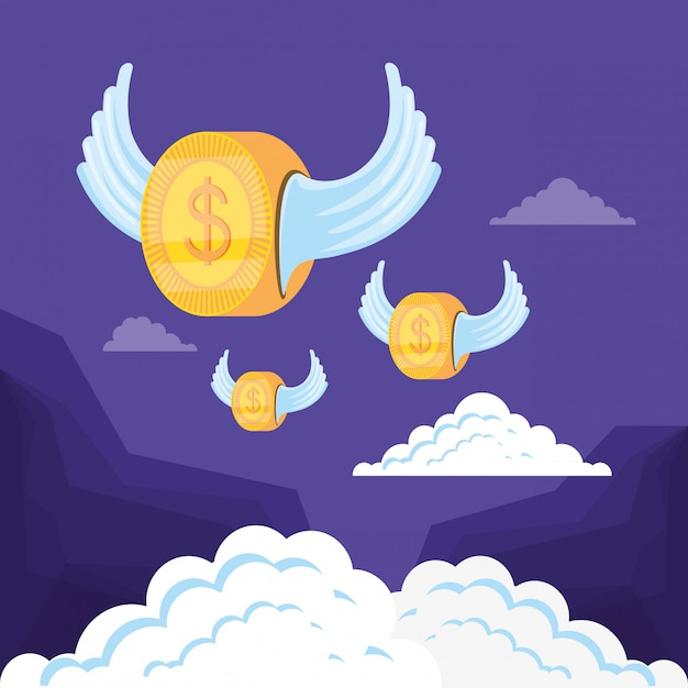 Icona isolata volante del dollaro della moneta Vettore Premium