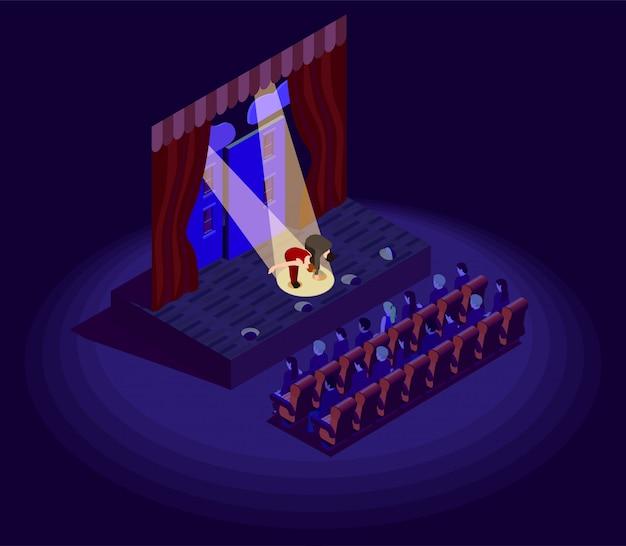 Icona isometrica del teatro Vettore gratuito