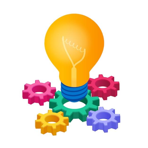 Icona isometrica della lampadina. concetto di idea creativa. lampadina con ingranaggi. Vettore Premium