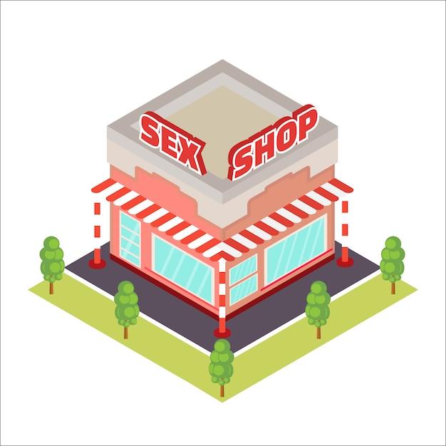 Icona isometrica di sex shop Vettore Premium