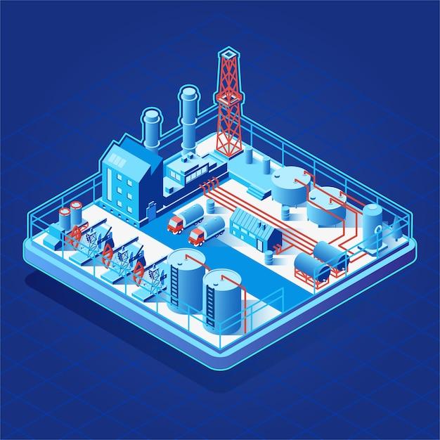 Icona isometrica di vettore o elemento infographic con pompe dell'olio Vettore Premium