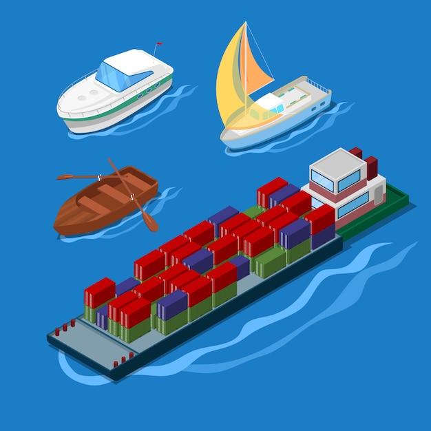 Icona isometrica impostata con nave porta-container per vacanze yacht e barche. Vettore Premium