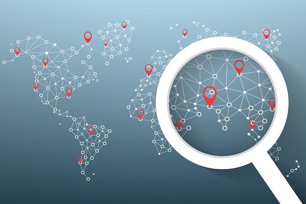 Icona lente di ingrandimento cerca posizione sulla mappa del mondo Vettore Premium